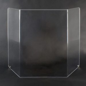 """Coronavirus cashier sneeze guard no window optical acrylic 42"""" x 32"""" x 8"""" trifold w/SS mounts. Ideal for dentist office, doctors office, and grocery stores.  May also be used to protect bank tellers and cashiers from air-born illness.  Made of 1/4"""" optical acrylic, 4 times stronger and infinitely clearer than normal plexiglass.  This is a good looking unit that will enhance your business.   Includes free stainless steel mounting hardware.  Protect yourself and your employees from covid-19 viruses with these commercial coronavirus barriers.  Covid-19 sneeze guards are made by Buffet Enhancements International, veteran owned and American made to protect you and your employees from disease.  Help make testing for the Corona Virus a thing of the past.  These barriers will guard against the common cold, viruses, flu, influenza, and viral infections."""