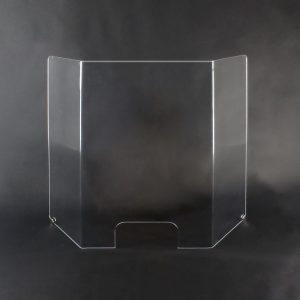 """Coronavirus cashier sneeze guard with window optical acrylic 42"""" x 32"""" x 8"""" tri-fold w/SS mounts. Ideal for dentist office, doctors office, and grocery stores. May also be used to protect bank tellers and cashiers from air-born illness. Made of 1/4"""" optical acrylic, 4 times stronger and infinitely clearer than normal p lexiglass. This is a good looking unit that will enhance your business. Includes stainless steel mounting hardware. Protect yourself and your employees from covid-19 viruses with these commercial covidvirus barriers. Covid-19 sneeze guards are made by Buffet Enhancements International, veteran owned and American made to protect you and your employees from disease. Make coronavirus testing a thing of the past."""