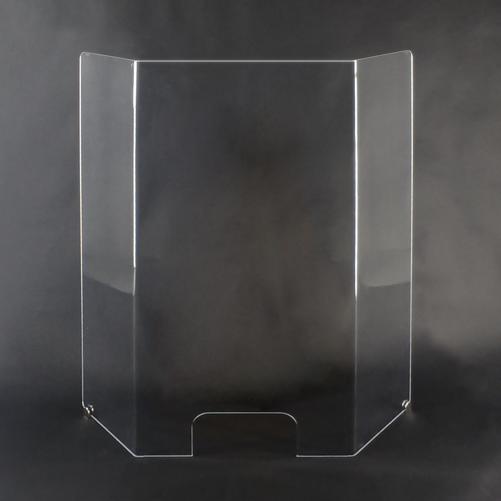 """Coronavirus cashier sneeze guard with window optical acrylic 42"""" x 48"""" x 8"""" tri-fold w/SS mounts. Ideal for dentist office, doctors office, and grocery stores.  May also be used to protect bank tellers and cashiers from air-born illness.  Made of 1/4"""" optical acrylic, 4 times stronger and infinitely clearer than normal plexiglass.  This is a good looking unit that will enhance your business.  Includes stainless steel mounting hardware.  Protect yourself and your employees from covid-19 viruses with these commercial covidvirus barriers.  Covid-19 sneeze guards are made by Buffet Enhancements International, veteran owned and American made to protect you and your employees from disease.  Make coronavirus testing a thing of the past."""
